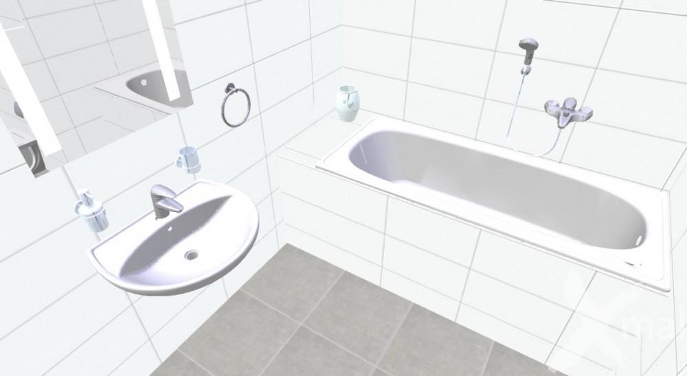 3D návrh bílé koupelny