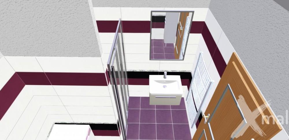3D návrh koupelny fialová