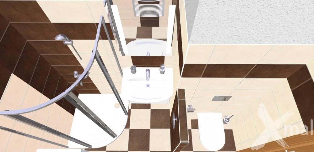 Návrh koupelny - hnědá kombinace