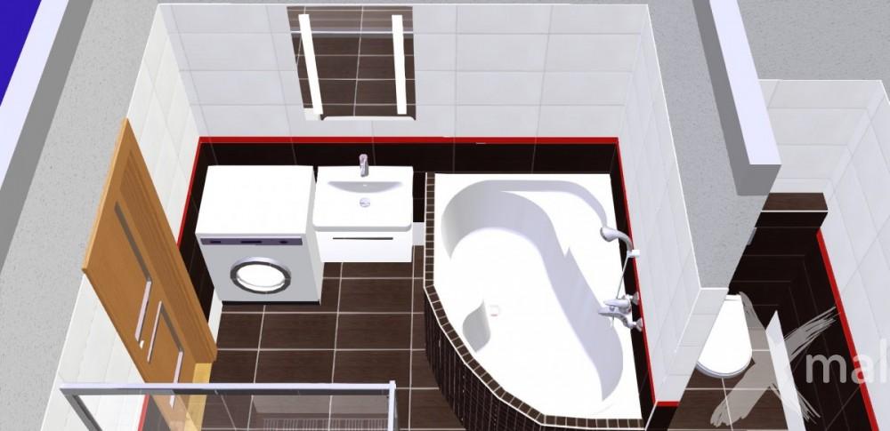 3D návrh koupelny s rohovou vanou