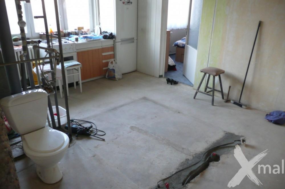 Po bouracích pracích bytového jádra