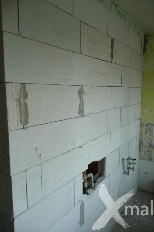 Stěna kuchyně v průběhu rekonstrukce