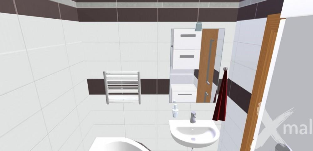 3D návrh panelové koupelny